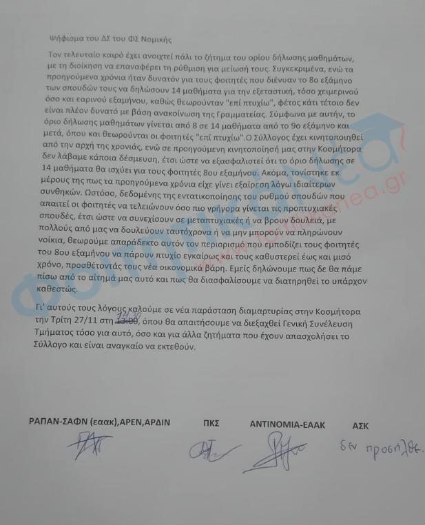 Ψήφισμα του ΔΣ του ΦΣ Νομικής Αθηνών για το ζήτημα του ορίου δήλωσης μαθημάτων